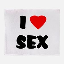 I Love Sex Throw Blanket