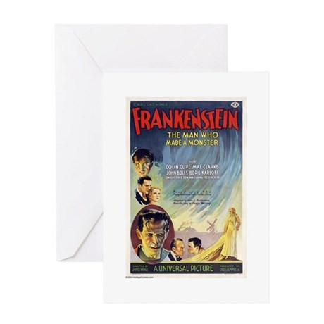 Vintage Frankenstein Horror Movie Greeting Card