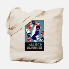 Vintage March is for Reading Tote Bag