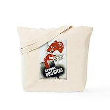 Retro Report Dog Bites Tote Bag