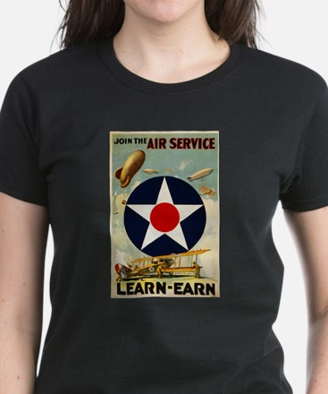 WWII Join the Air Service/Air Force Women's Dark T