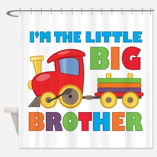 Little Big Bro Train Shower Curtain