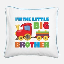 Little Big Bro Train Square Canvas Pillow