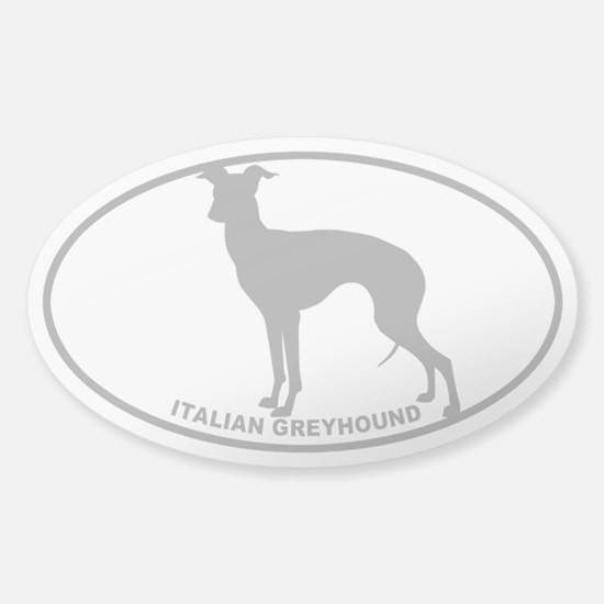 Italian Greyhound - Gray on Clear Sticker (Oval)
