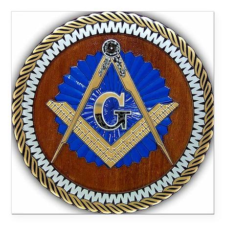 "Freemasonry Square Car Magnet 3"" x 3"""