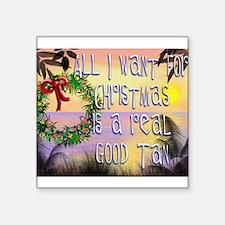 "Beachy Christmas Square Sticker 3"" x 3"""