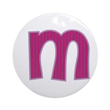 Initial M with Pink/Purple Stripes Ornament (Round