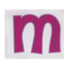 Initial M with Pink/Purple Stripes Throw Blanket