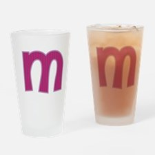 Initial M with Pink/Purple Stripes Drinking Glass