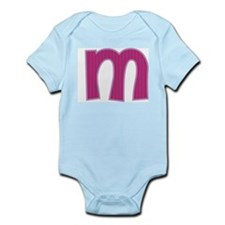 Initial M with Pink/Purple Stripes Infant Bodysuit