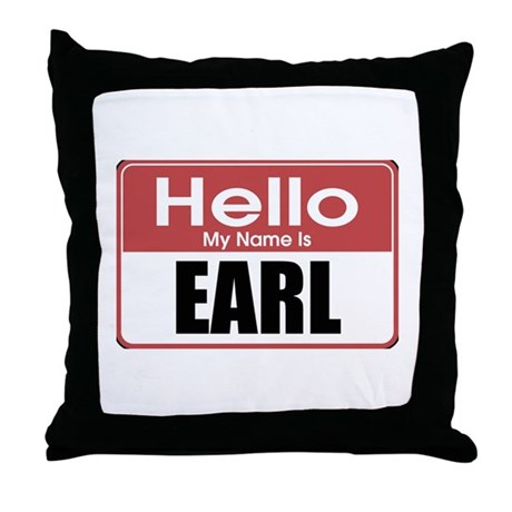 Earl Name Tag Throw Pillow