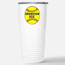 Personalized Softball Stainless Steel Travel Mug