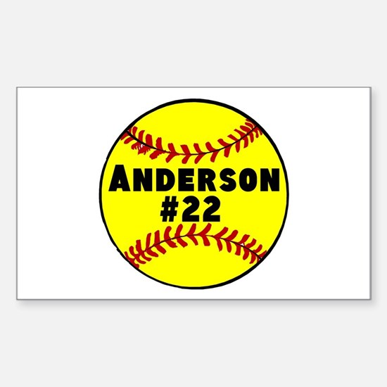 Personalized Softball Sticker (Rectangle)