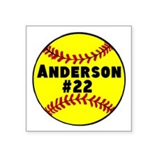 "Personalized Softball Square Sticker 3"" x 3"""
