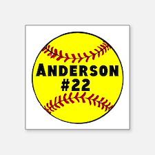 "Personalized Softball Square Sticker 3"" x 3"""