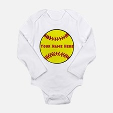 Personalized Softball Long Sleeve Infant Bodysuit