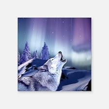 "Winter Wolf Square Sticker 3"" x 3"""