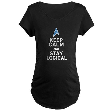 Keep Calm and Stay Logical Maternity Dark T-Shirt