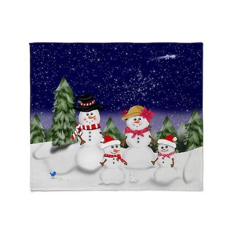 Snowman Family Scene Throw Blanket