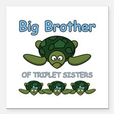 "Big Bro Triplet Turtle Square Car Magnet 3"" x 3"""