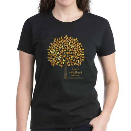 Gold Ribbon Tree Women's Dark T-Shirt