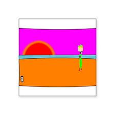 """Sunset Fruit Seller Square Sticker 3"""" x 3"""""""