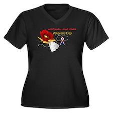 Veterans Day Women's Plus Size V-Neck Dark T-Shirt
