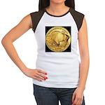 Black-Gold Buffalo-Indian Women's CapSleeve TShirt