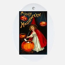 Little Red Witch Oval Ornament