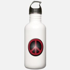 Glowing Red Peace Symbol Water Bottle