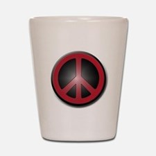 Glowing Red Peace Symbol Shot Glass