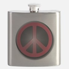 Glowing Red Peace Symbol Flask