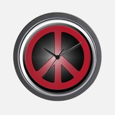 Glowing Red Peace Symbol Wall Clock