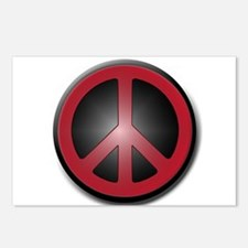 Glowing Red Peace Symbol Postcards (Package of 8)