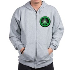 Green Peace Symbol glow Zipped Hoody