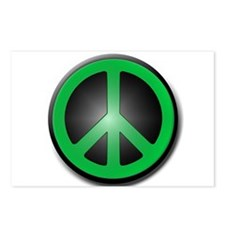 Green Peace Symbol glow Postcards (Package of 8)