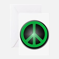 Green Peace Symbol glow Greeting Card
