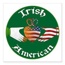 "Irish American Claddagh Square Car Magnet 3"""
