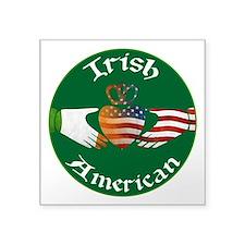 "Irish American Claddagh Square Sticker 3"" x 3"