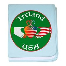 Ireland USA Connection Claddagh baby blanket