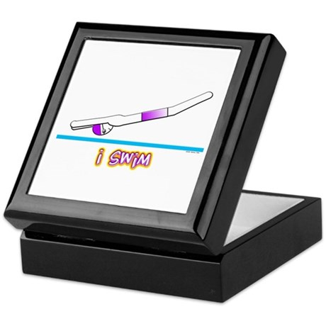 i swim (boy) purple suit Keepsake Box