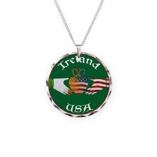 Ireland USA Connection Claddagh Necklace Circle Ch