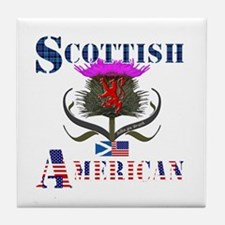 Scottish American Thistle Tile Coaster