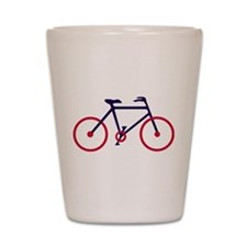 Navy Blue and Red Cycling Shot Glass