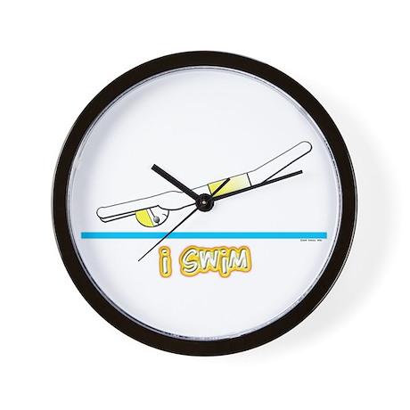 i swim (boy) yellow suit Wall Clock