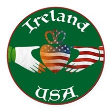 Ireland USA Connection Claddagh Round Car Magnet