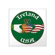 Ireland USA Connection Claddagh Square Sticker 3&q