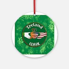 Ireland USA Connection Claddagh Ornament (Round)