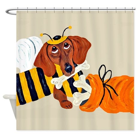 Dachshund Trick Or Treat Bee Shower Curtain