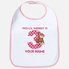 3rd Birthday Monkey Girl Bib